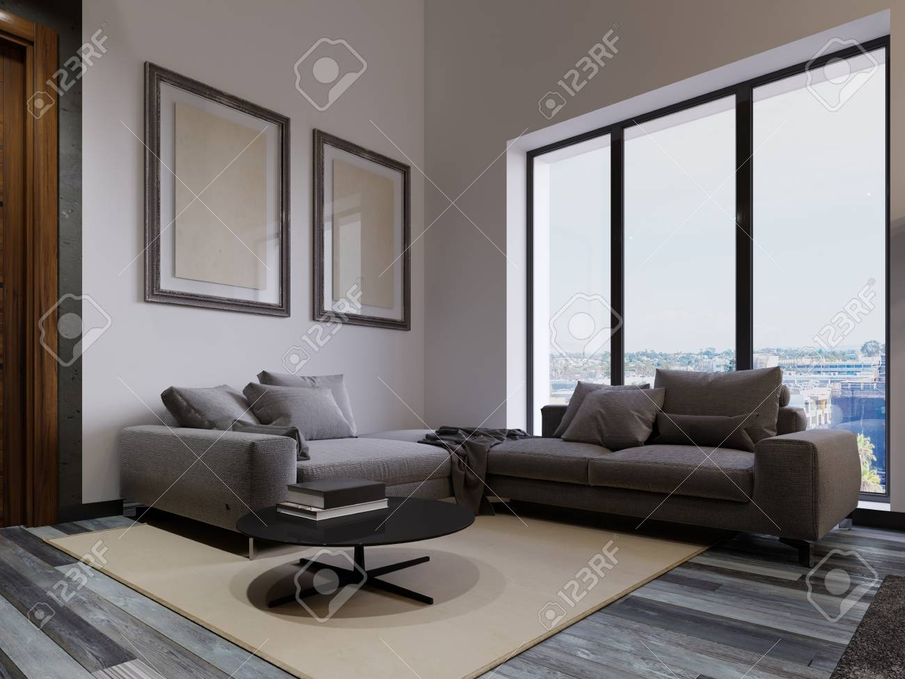 A large corner sofa by the living room window is contemporary..