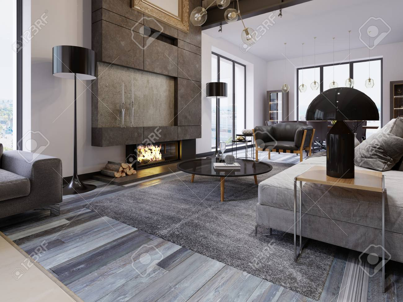 a large spacious living room in a loft style, with a fireplace..