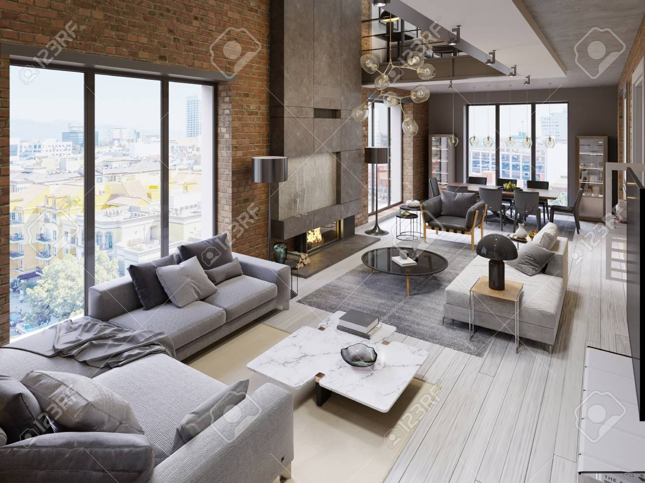 Large modern loft-style apartment with sofas, armchair, fireplace,..