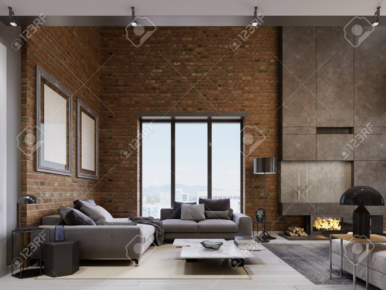 Loft apartment with brick wall ith modern furniture. 3d rendering
