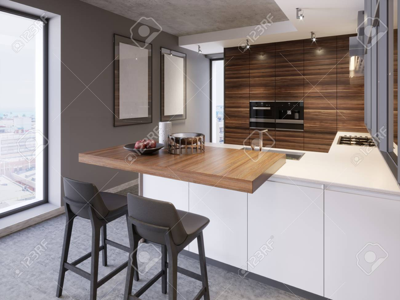 A kitchen with a kitchen island with two chairs in a modern kitchen,..