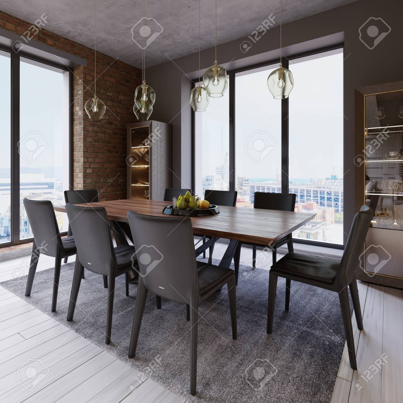 Cozy loft with dining table, chairs and storage racks. 3d rendering