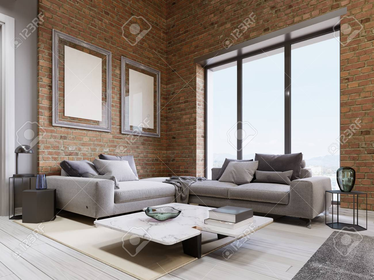 modern sofa with panoramic windows in loft living room. 3d rendering