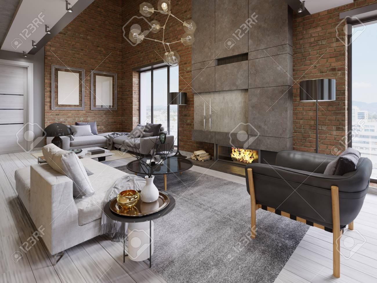 Remarkable Modern Vintage Loft Apartment Living Room 3D Rendering Home Interior And Landscaping Oversignezvosmurscom