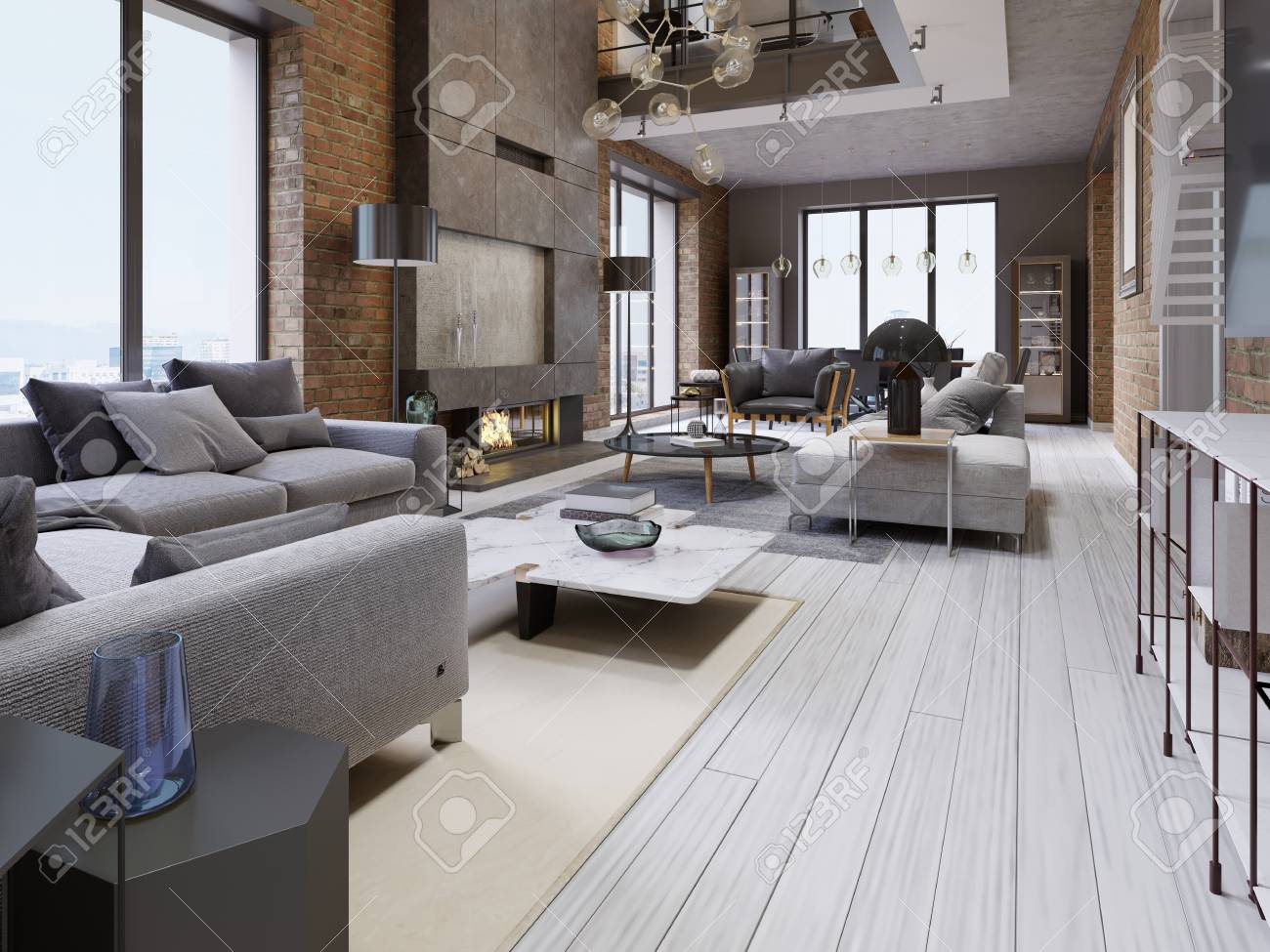 Great design of apartments in a loft style with a brick wall..
