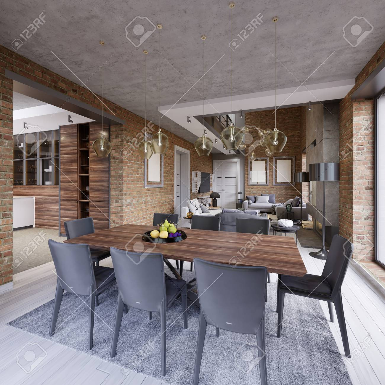Modern dining room with dining table and eight chairs in a loft-style..