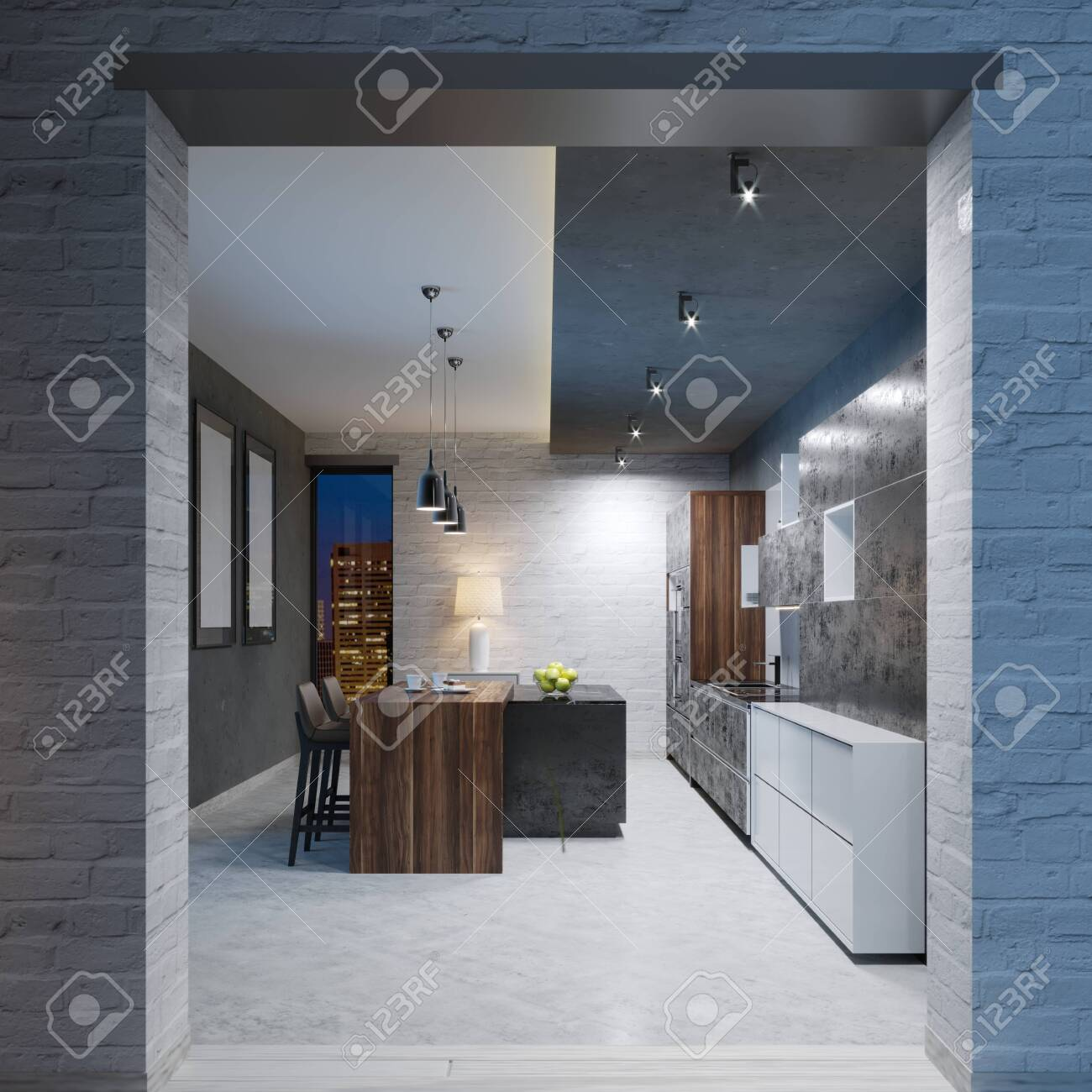 Modern Kitchen Design With A Long Center Island And Bar Table Stock Photo Picture And Royalty Free Image Image 113849648