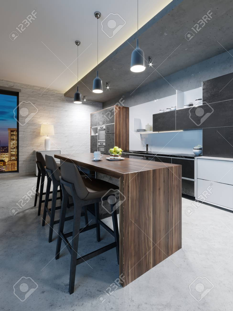 Bar counter with chairs and a kitchen island in a modern kitchen,..