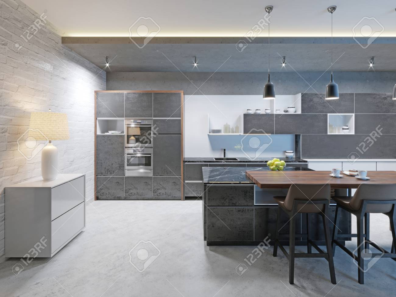 Modern Kitchen Design With A Long Center Island And Bar Table ...
