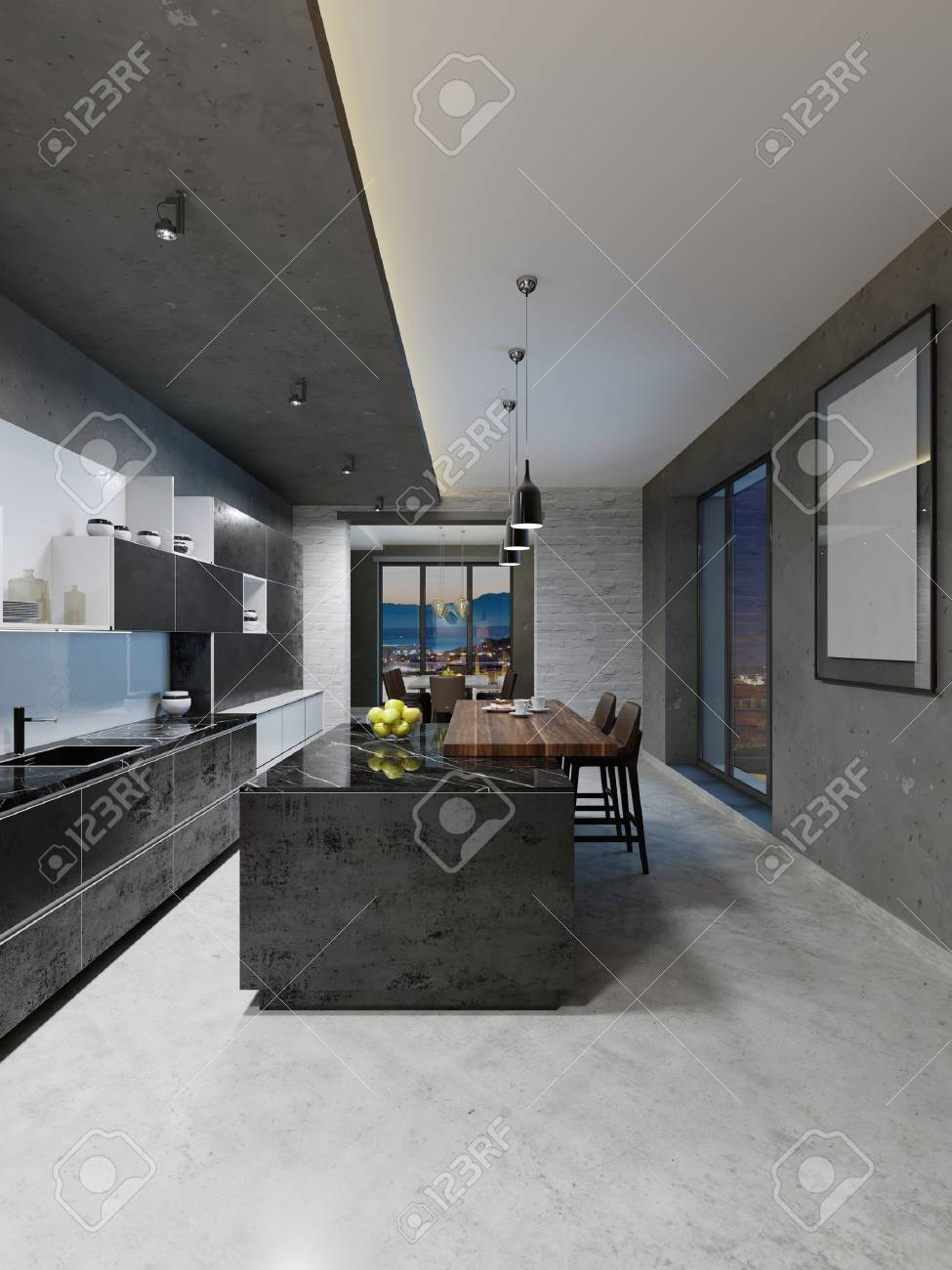 Modern Kitchen Design With A Long Center Island And Bar Table Stock Photo Picture And Royalty Free Image Image 113849750