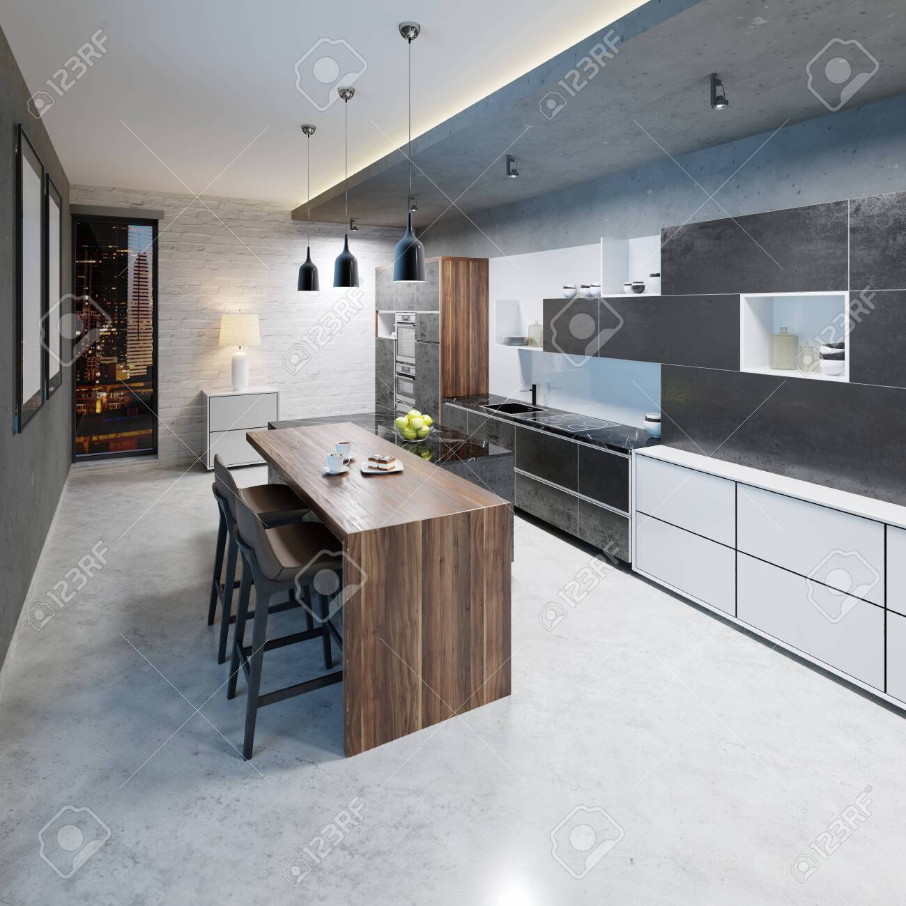 modern kitchen design with a long center island and bar table..