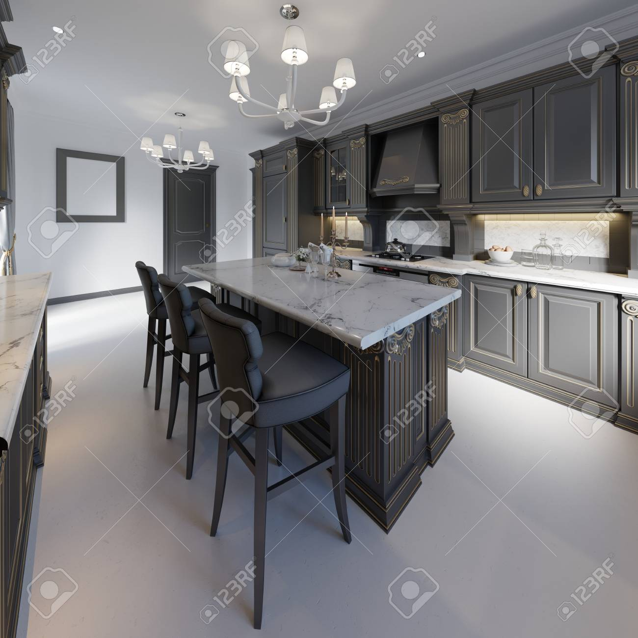 Kitchen island details and bar chairs. 3d rendering