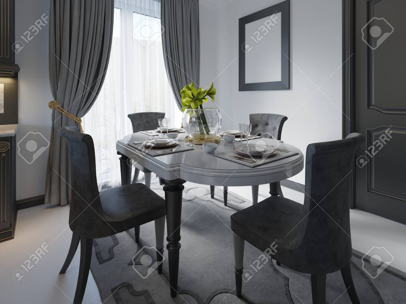 Luxury Black Dining Room With Dark Furniture White Marble Floor Stock Photo Picture And Royalty Free Image Image 113850209