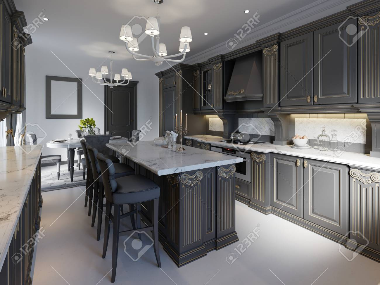 Modern classic kitchen design with black cabinets and white marble..