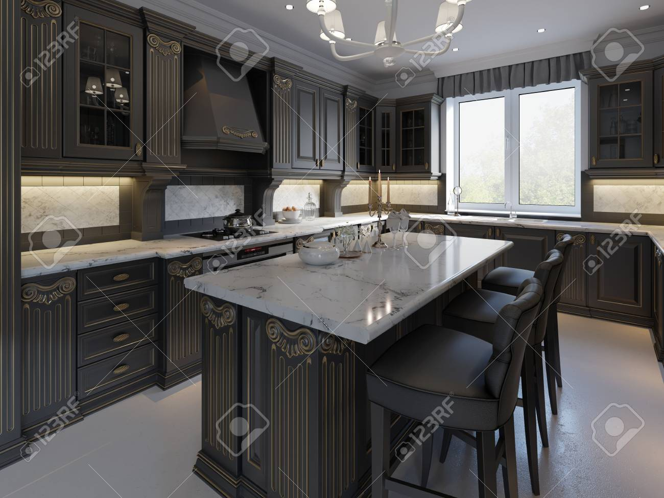 Black Bar Stools At Kitchen Island In Bright Living Room 3d