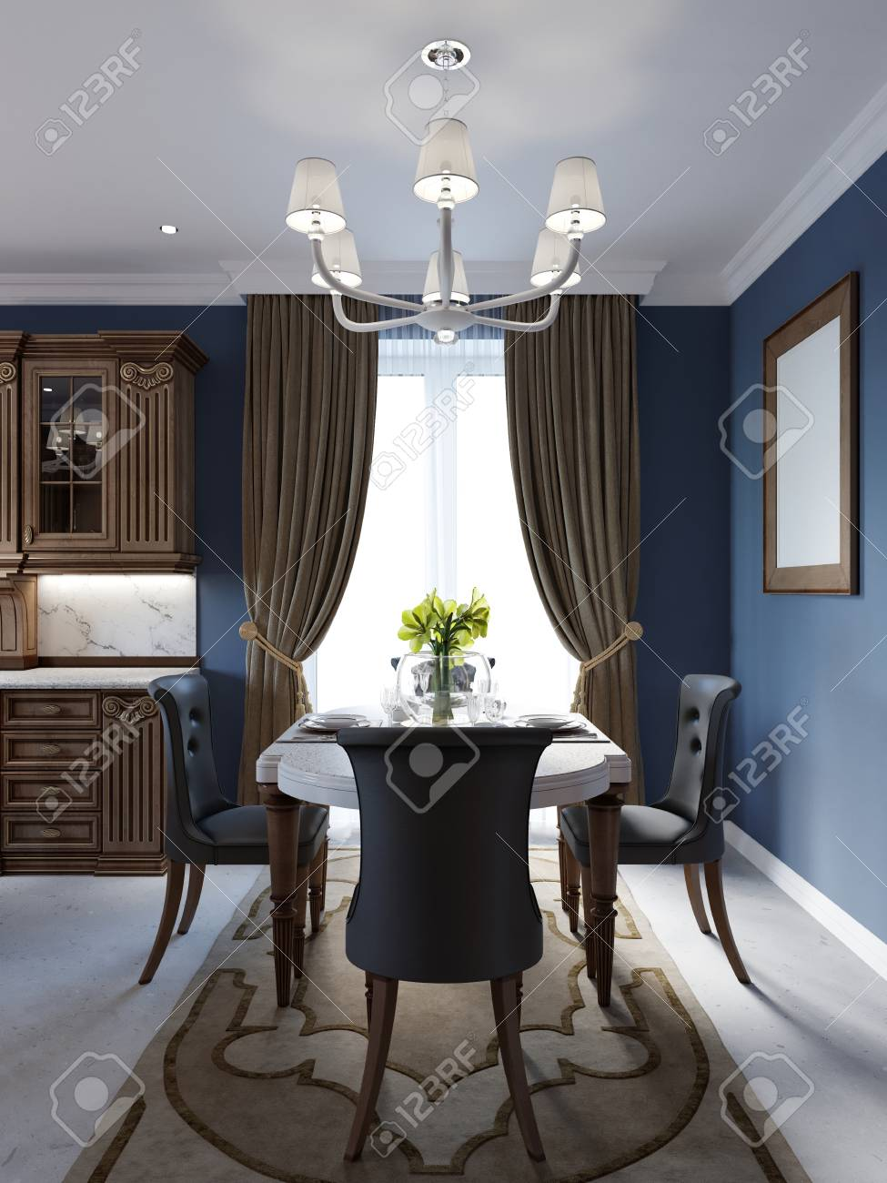 Decoration and furniture of classical dining room with table. 3d rendering - 113850326