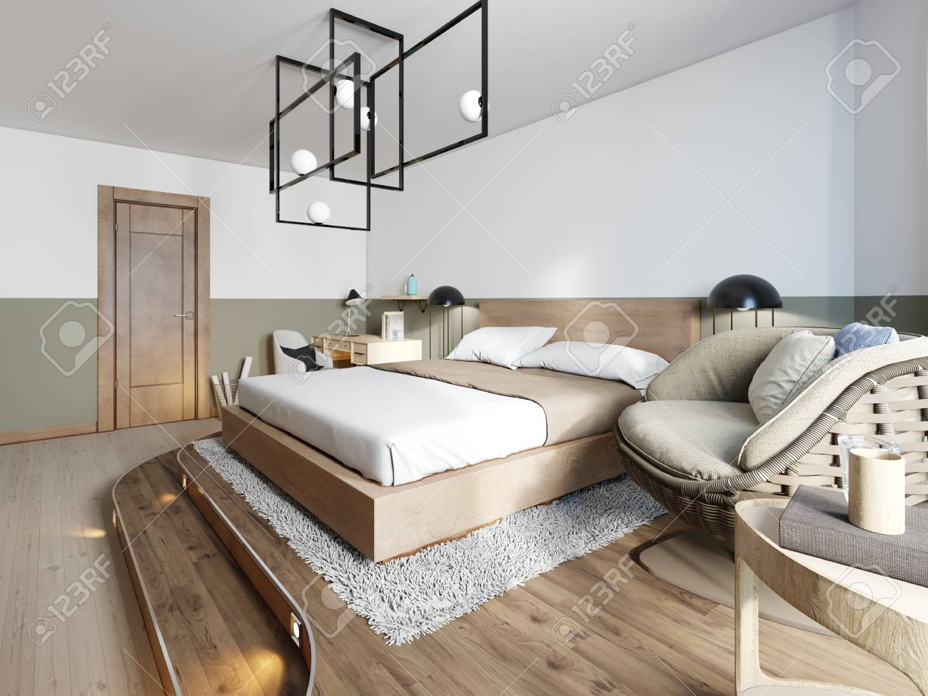 Modern rustic bedroom design and a bed on a wooden podium with..
