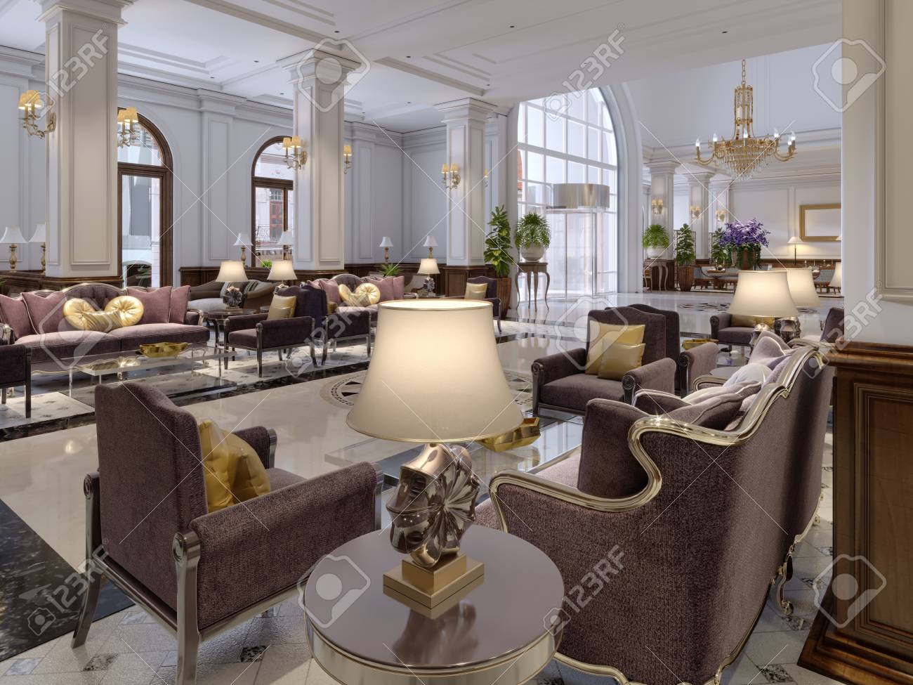 Hotel lobby in classic style with luxurious art deco furniture..