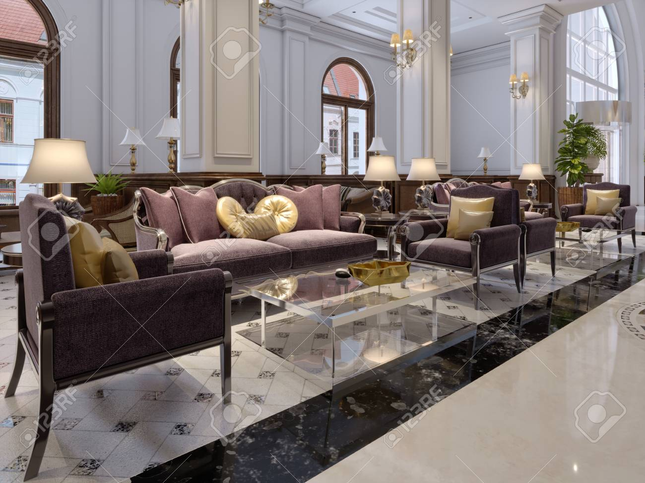 Hotel lobby in classic style with luxurious art deco furniture