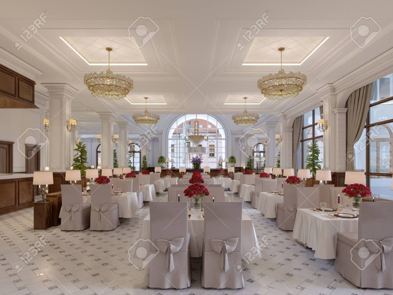 Beautiful interior of the restaurant in a modern hotel with white..