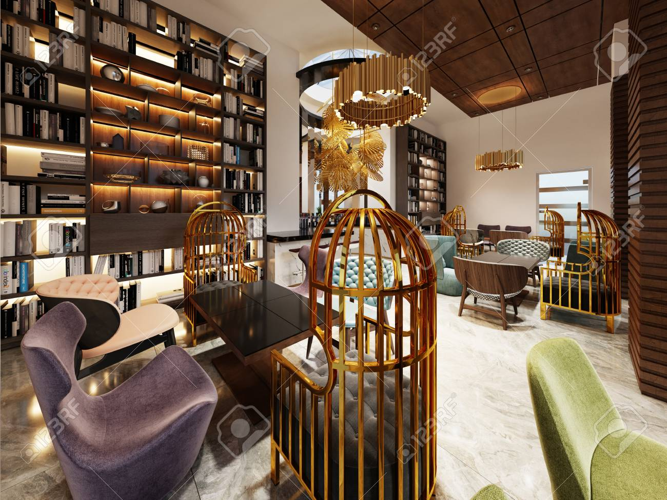 Fashionable In Modern Style Library Bar In Art Deco Style With