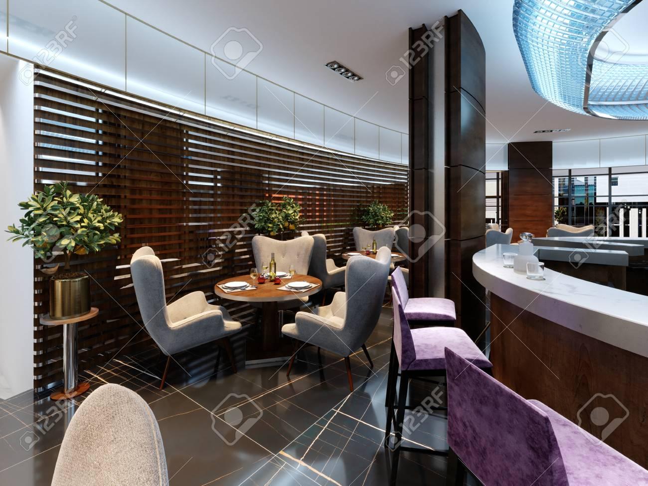 Modern Bar And Restaurant Interior Part Of A Hotel Designer