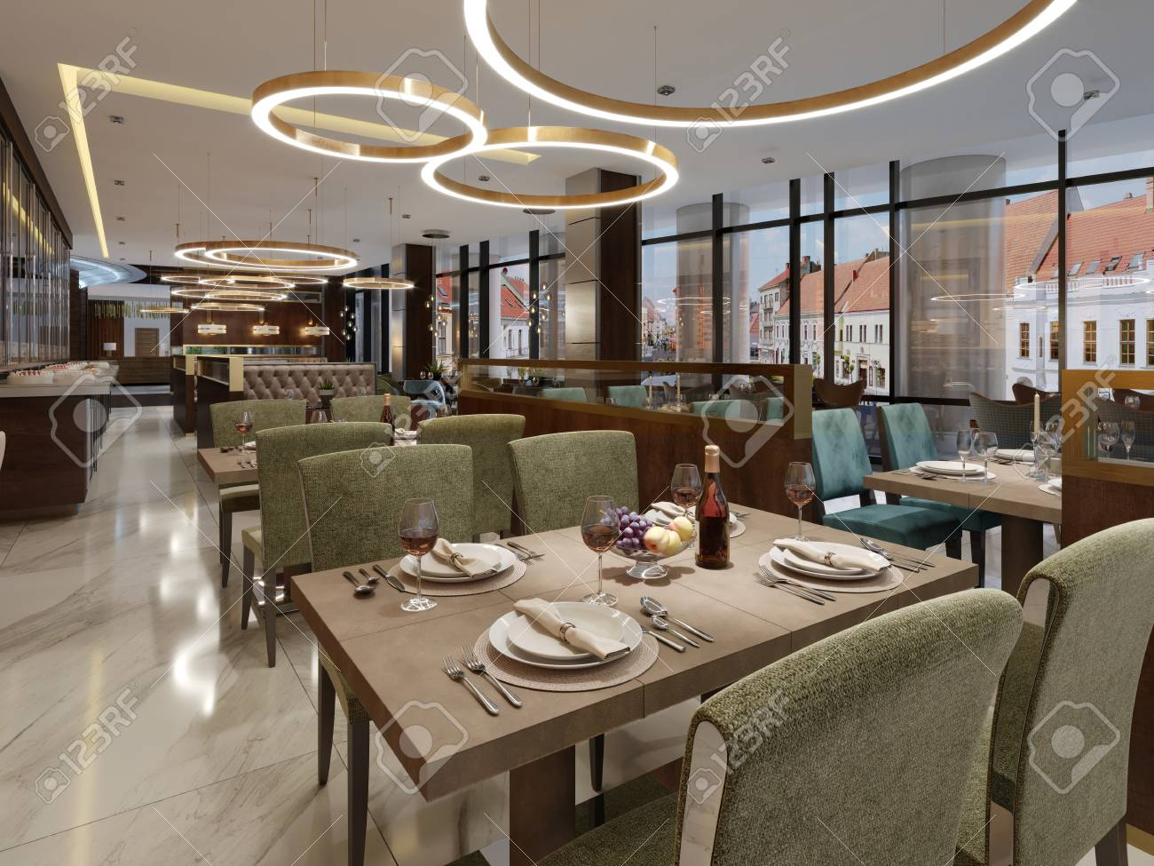 Restaurant in a modern style with marble floor. There are sofas..