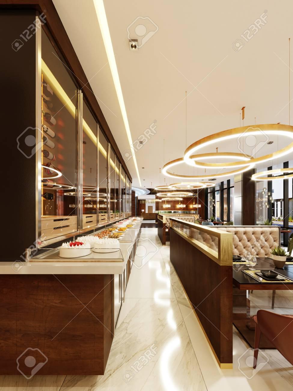Decorative Wall In Modern Restaurant With Bottles Under Glass ...
