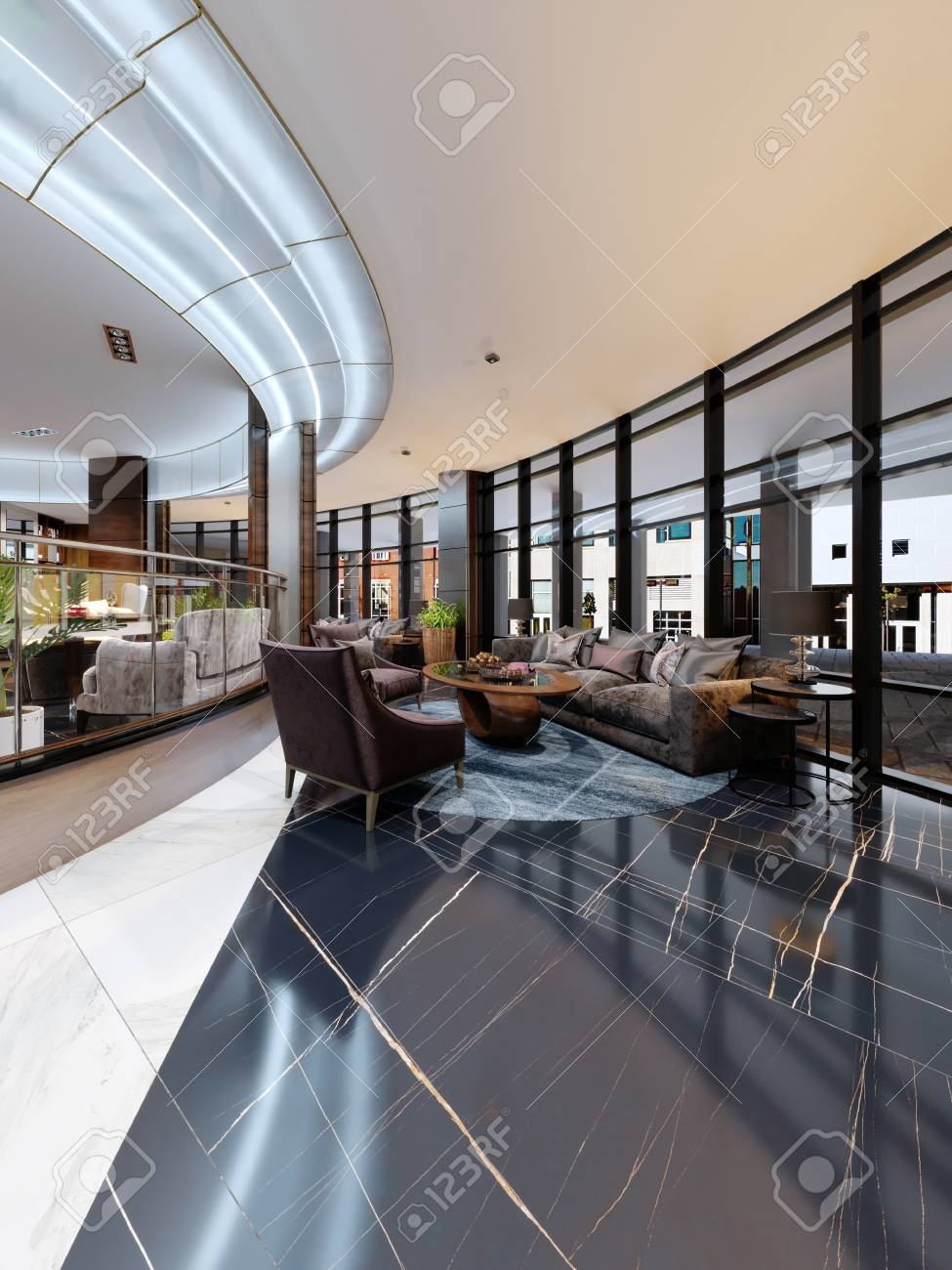 Contemporary hotel interior design, hotel lobby, rest area with..