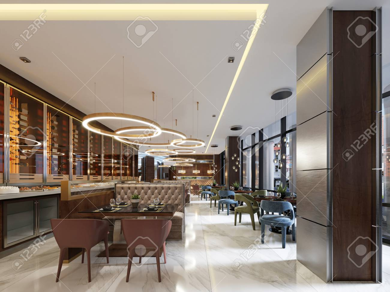 Luxury restaurant in contemporary style with exquisite modern furniture and designer listroy with hidden lighting