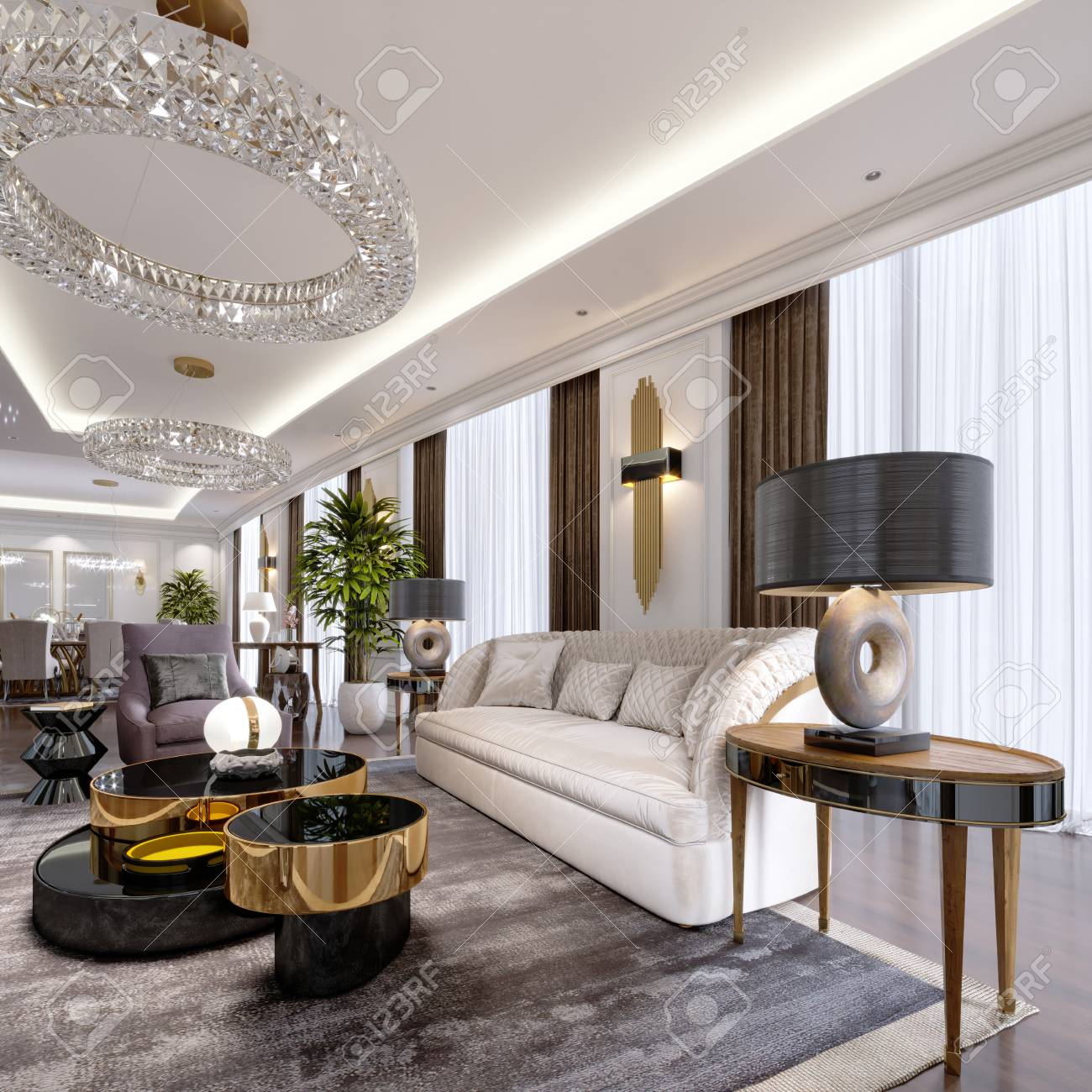 Luxury apartments in the hotel with a living room and dining..
