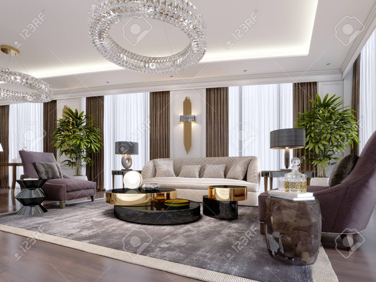 Design of luxury apartments in modern style with designer furniture..