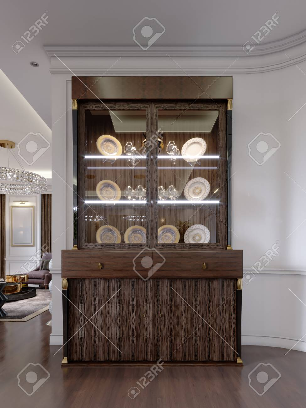 Glass Cabinet with dishes on the shelves and lighting in a modern..