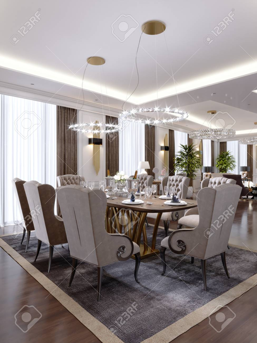 Luxurious Dining Room With A Large Table And Soft Chairs In A Stock Photo Picture And Royalty Free Image Image 113934739