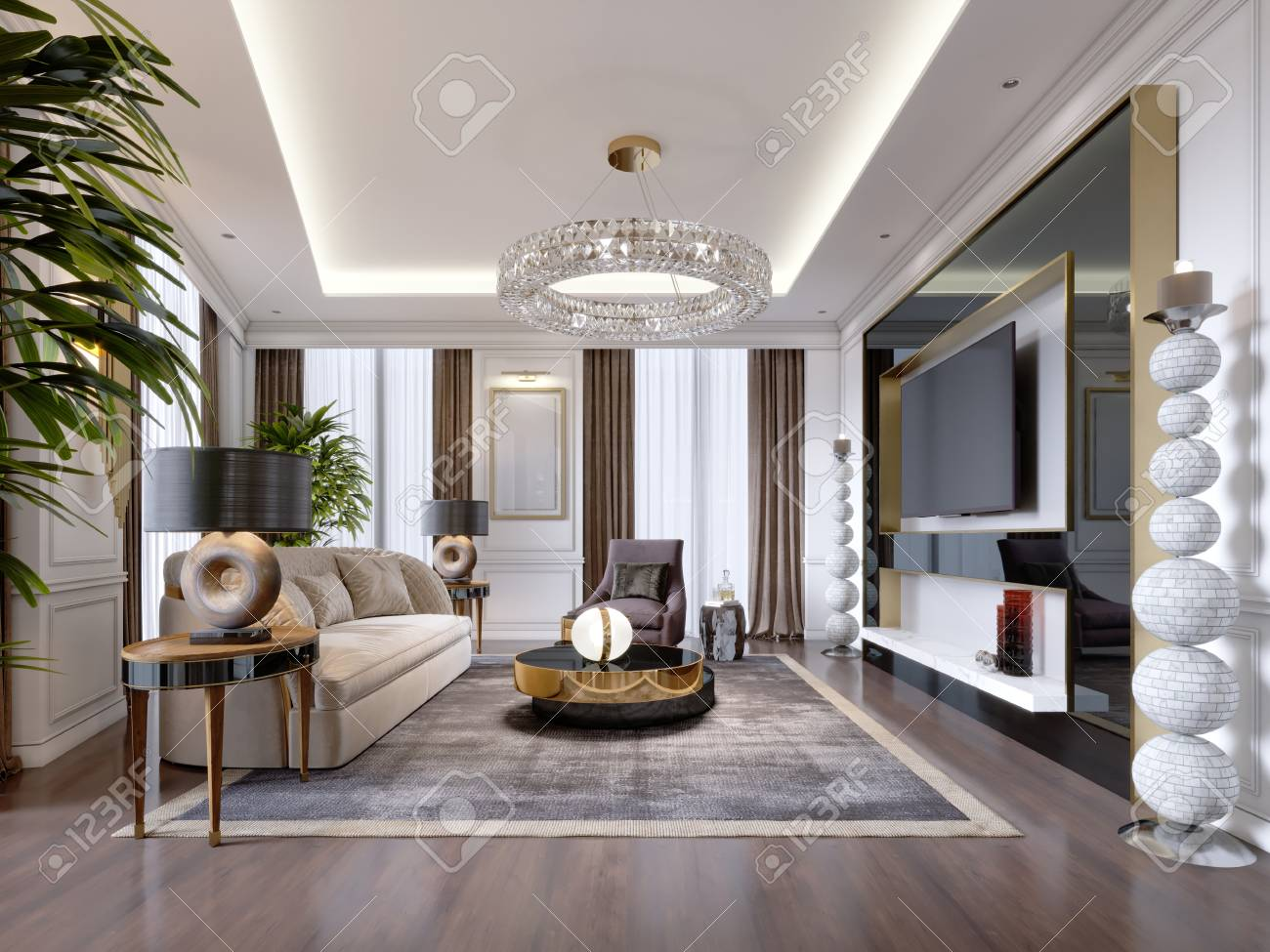 Luxurious living room in modern style with sofa, armchair, designer..
