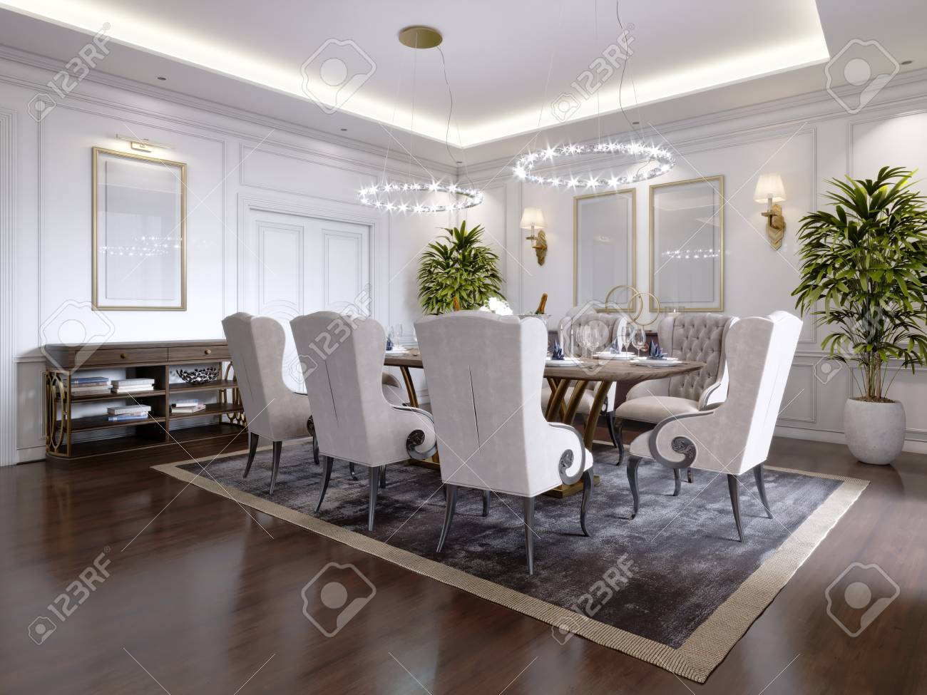 Large Dining Table For Eight People In The Dining Room Classic