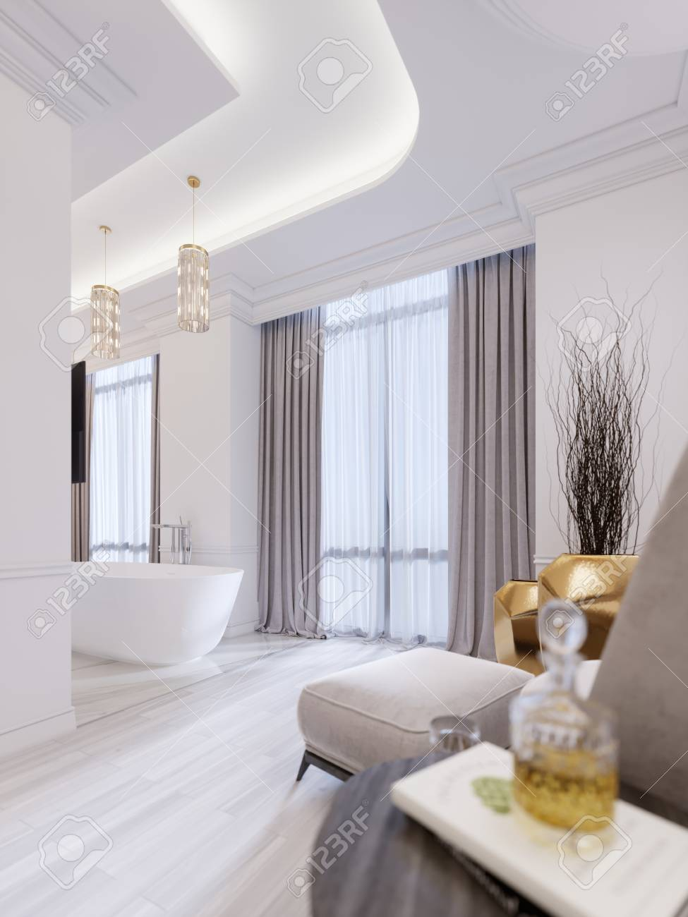 Modern Bathroom With A Window Hanging Chandelier Curtains Stock Photo Picture And Royalty Free Image Image 113934912