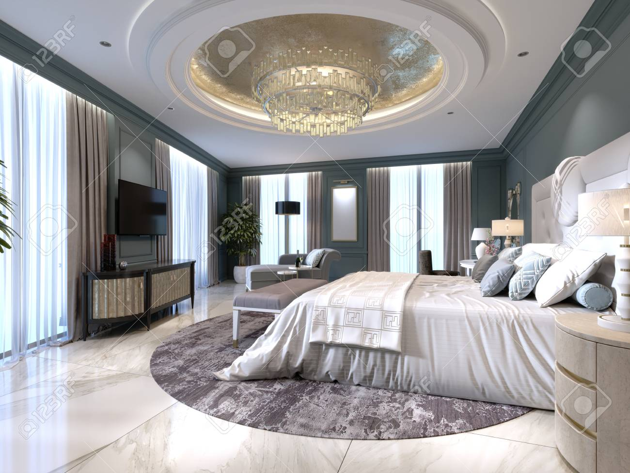 Luxury apartments with a bedroom and living area in contemporary..