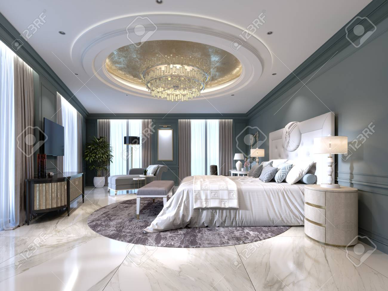 The Modern Design Of The Bedroom With A Large White Bed And A Stock Photo Picture And Royalty Free Image Image 113935040
