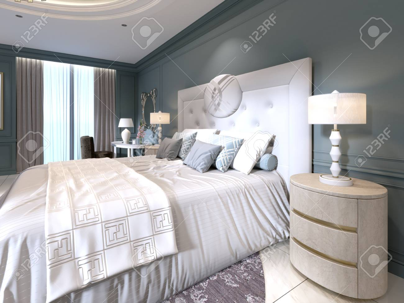 Stock photo the modern design of the bedroom with a large white bed and a stool with a dressing table nearby dark walls light furniture white marble