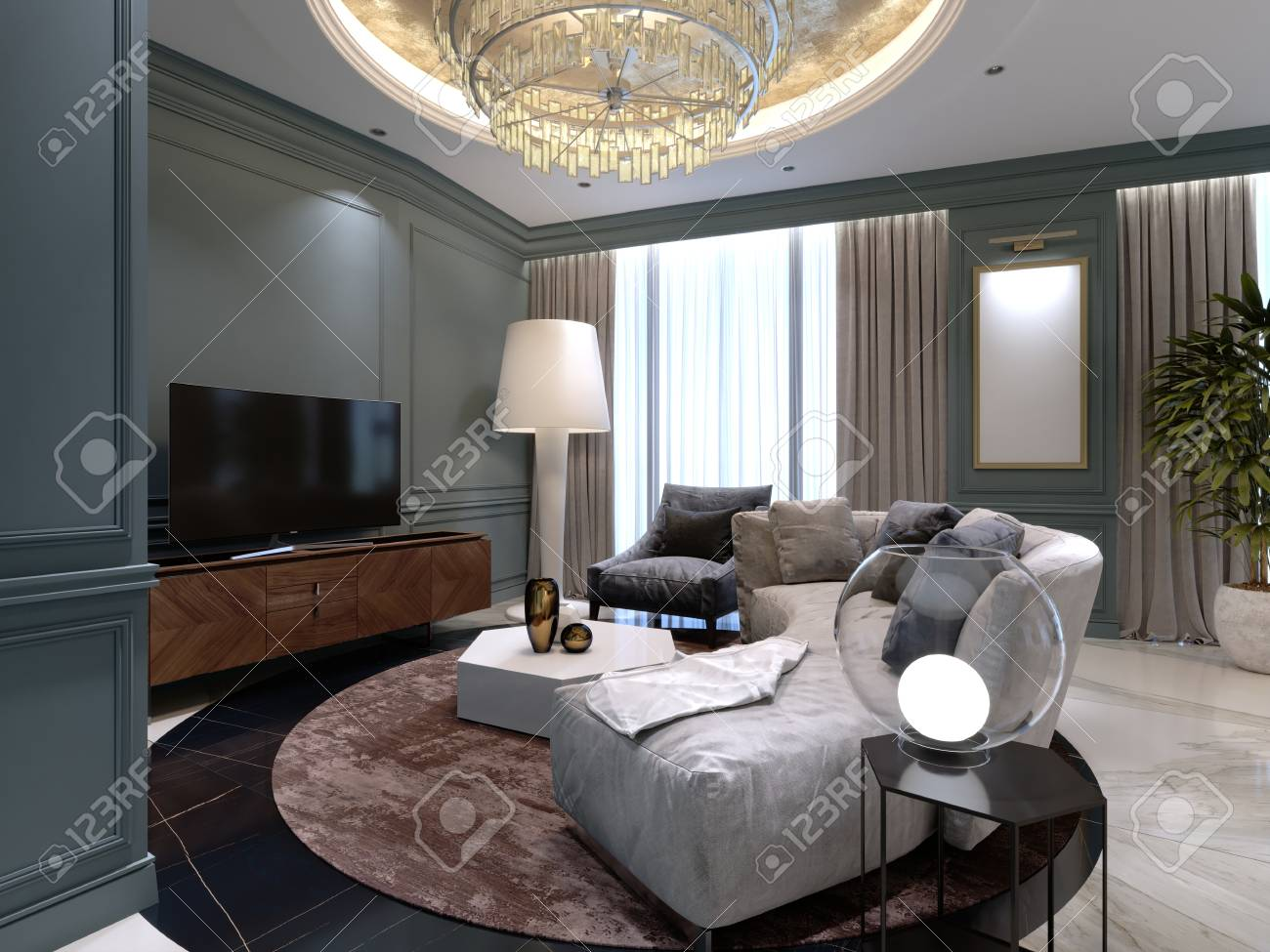 A Small Living Room With A Semi Circular Sofa And A Comfortable