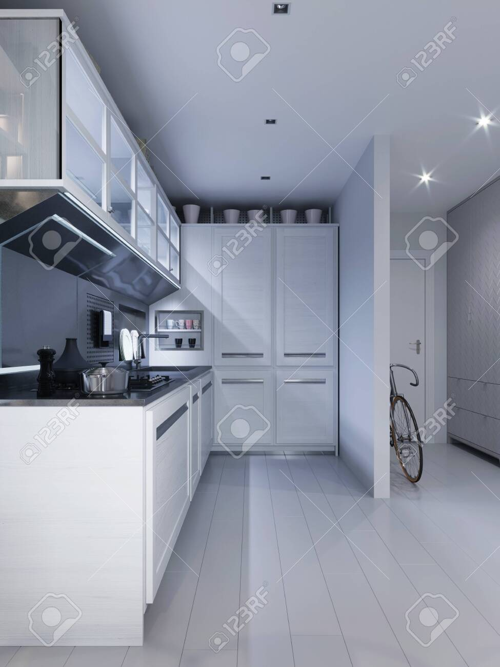 White corner kitchen in contemporary design with modern technological furniture. 3D rendering. - 148463888