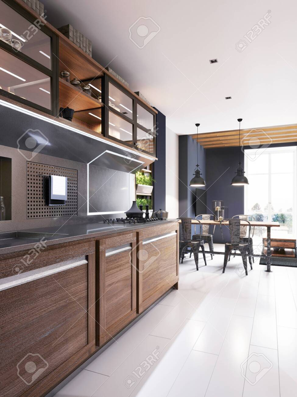 Modern Kitchen With Dark Blue Walls And Wooden Light Furniture Stock Photo Picture And Royalty Free Image Image 148463914