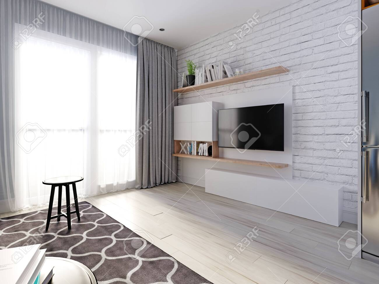 A Tv Unit With A Tv And Bookshelves White Decorative Brick Wall Stock Photo Picture And Royalty Free Image Image 148788256