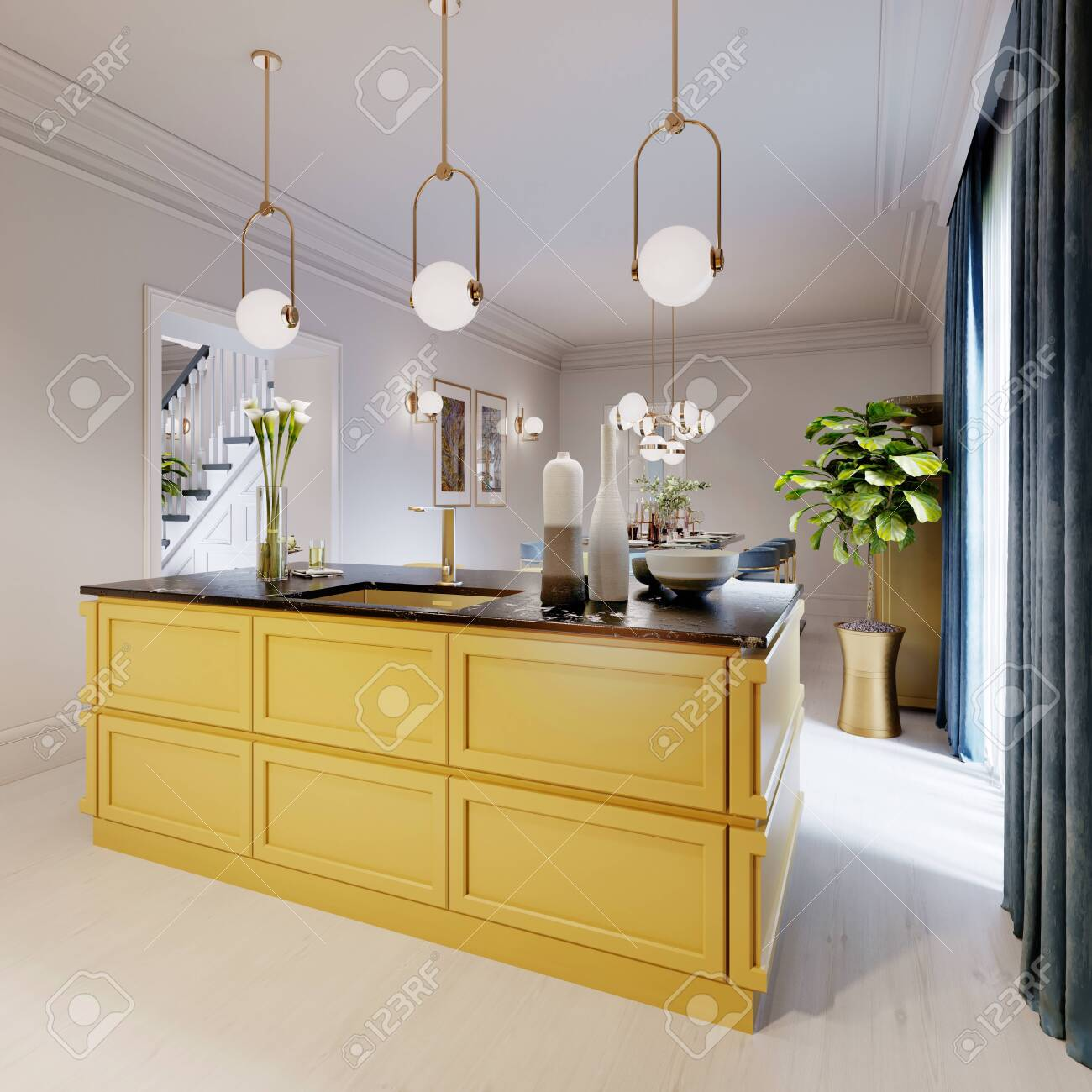 Modern Kitchen Island In Yellow Kitchen With Pendant Lamp Over Stock Photo Picture And Royalty Free Image Image 150291374