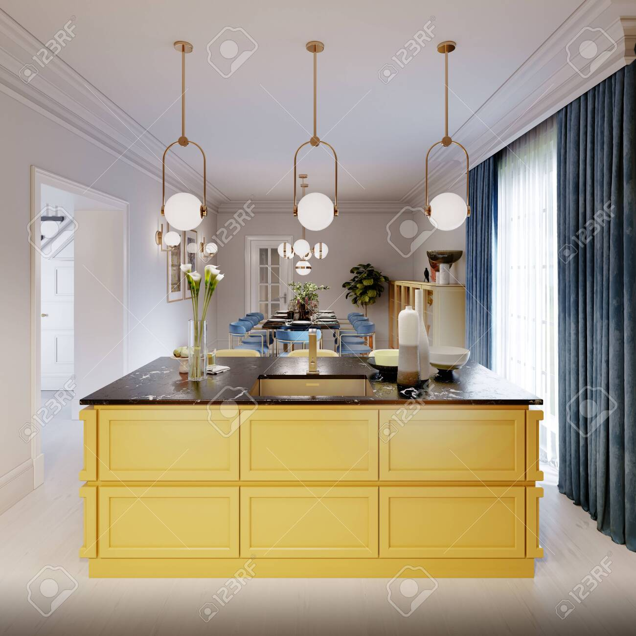 Modern Kitchen Island In Yellow Kitchen With Pendant Lamp Over Stock Photo Picture And Royalty Free Image Image 150291459