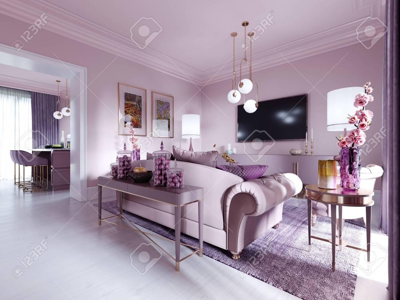 Modern Art Deco Living Room In Lilac Color With Fashionable Upholstered Stock Photo Picture And Royalty Free Image Image 150296869