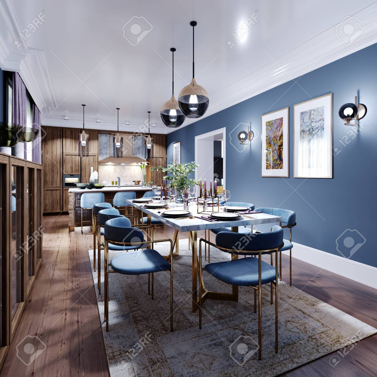 Large Dining And Dining Room Table With A Kitchen In A Fashionable Stock Photo Picture And Royalty Free Image Image 150374053