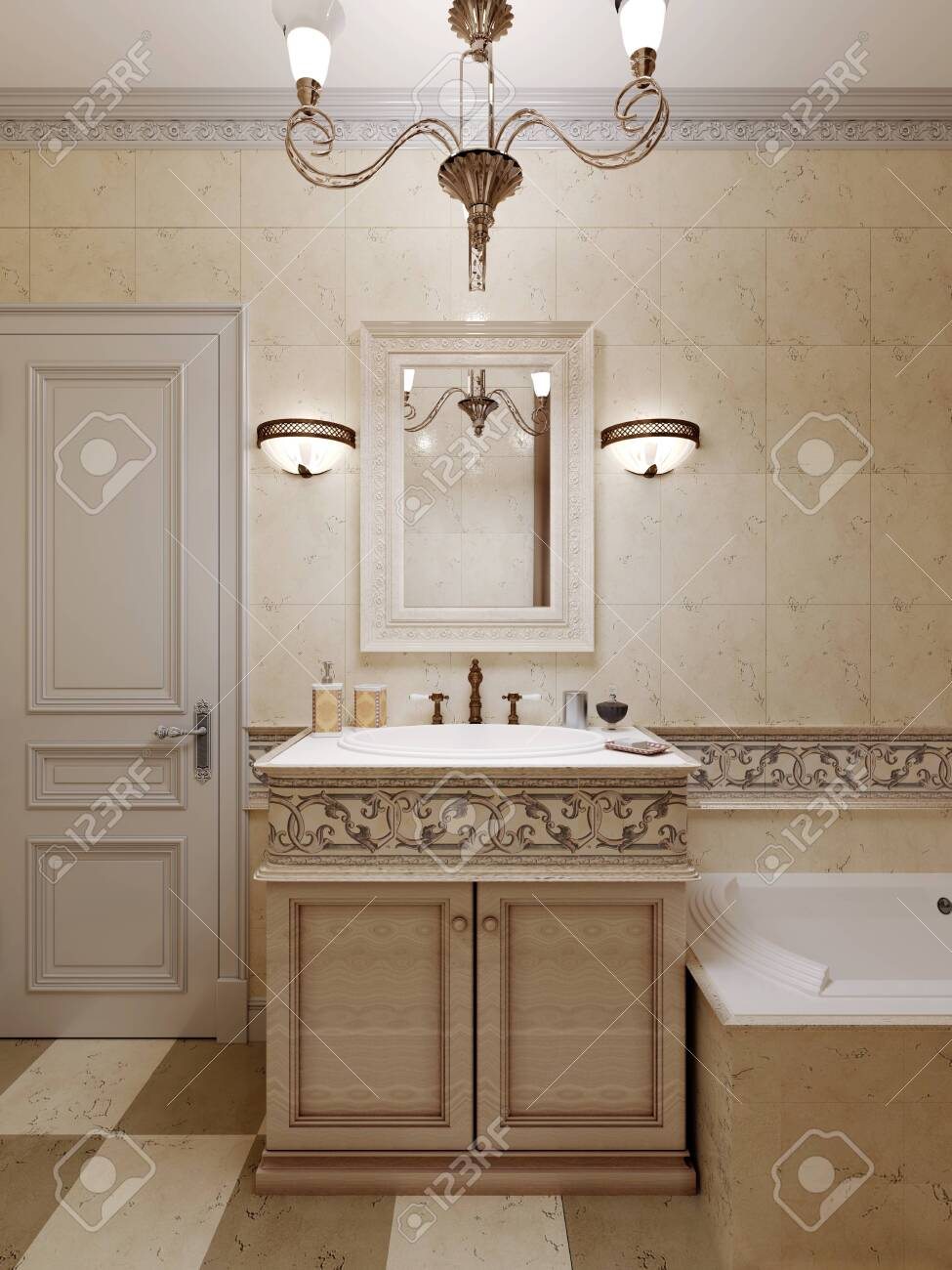 Bathroom In Art Deco Style Beige Tiles On The Walls With Ornament Stock Photo Picture And Royalty Free Image Image 150386500