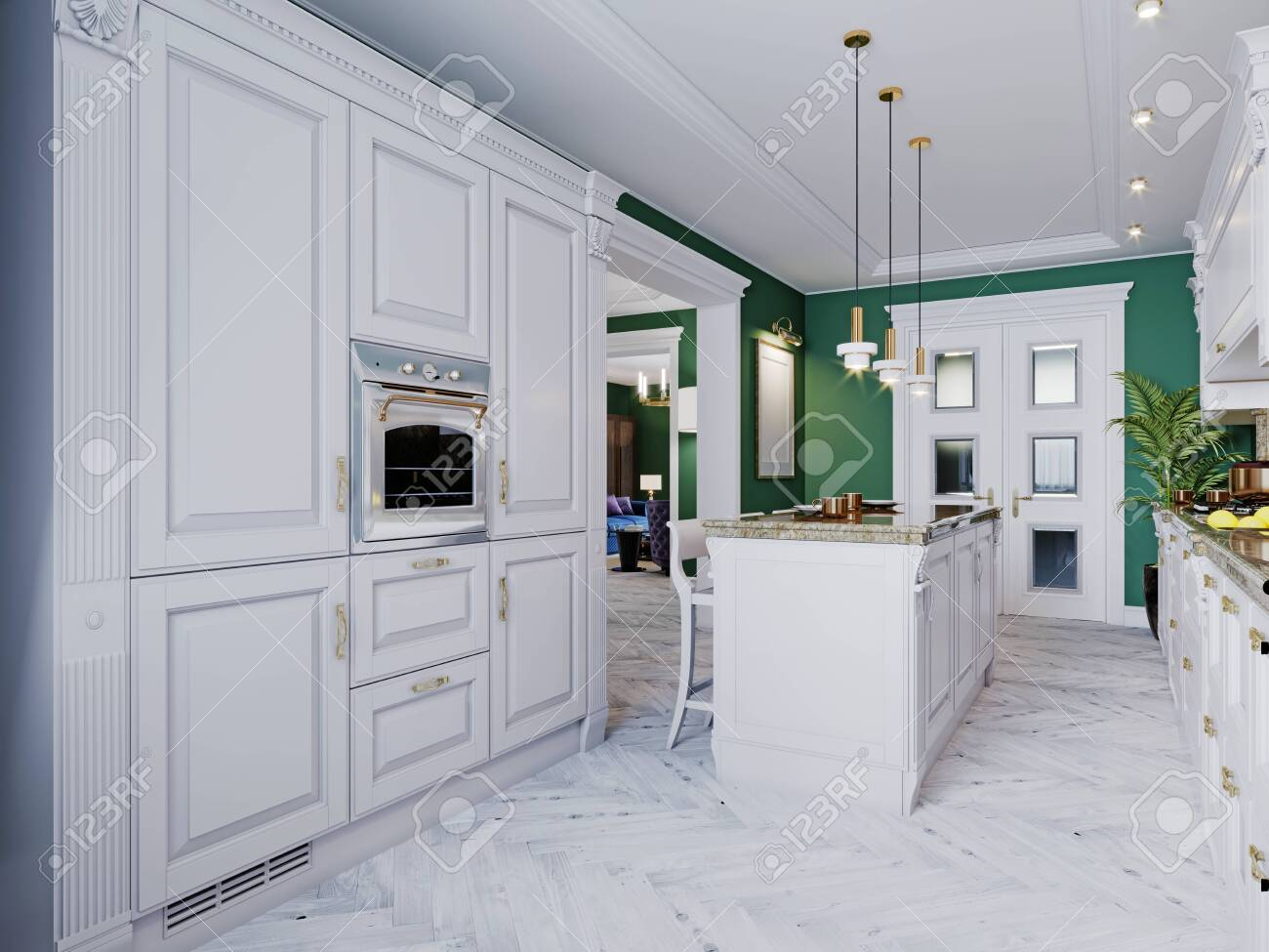 A classic kitchen with white furniture and green walls and a white floor with a ceiling, a kitchen island and a bar counter with three chairs. 3D rendering. - 150530828